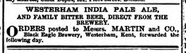 Westerham IPA Black Eagle Sussex Agricultural Express 6 Nov 1877