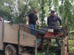All aboard the hop pulling trailer